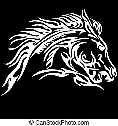 tribal, caballo, tatuaje, en, negro, backgr