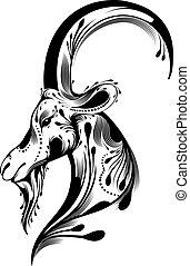 tribal, cabra, cabeça, tatuagem