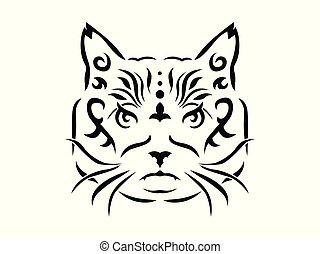 Tribal cat illustration
