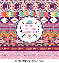tribal, citations, hipster, modèle, éléments, typographique, géométrique, coloré, seamless, texte
