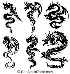 tribal, conjunto, dragones, chino
