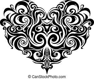 tribal, corazón, tatuaje