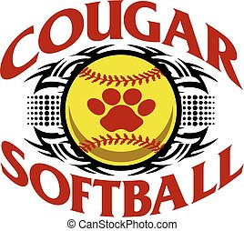 cougar softball - tribal cougar softball team design with...