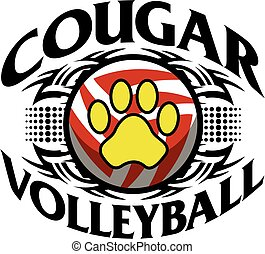 cougar volleyball - tribal cougar volleyball team design ...