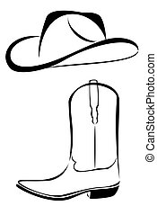 A tribal western set cowboy hat and boot tattoo