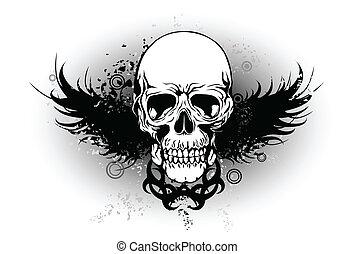 tribal, cráneo, con, ala