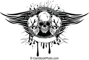 tribal, cráneos, tres