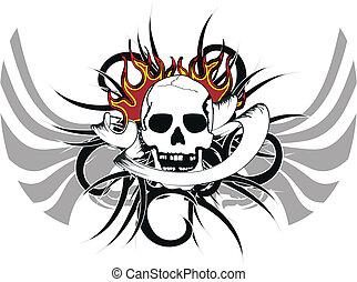 tribal, crâne, tattoo4