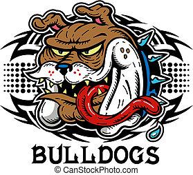 tribal crazy bulldog head