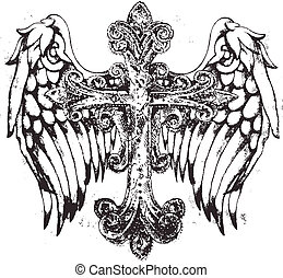 tribal cross with wing
