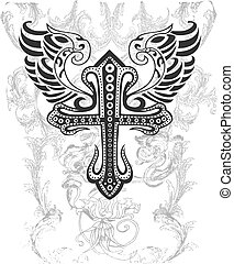 tribal, crucifixos, com, asa, ilustração