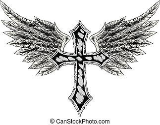 tribal, crucifixos, com, asa