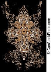 tribal, desenho, crucifixos