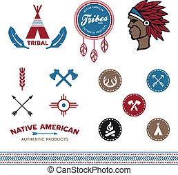 tribal, diseños, nativo
