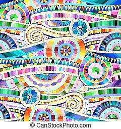 Tribal doddle ethnic seamless pattern. - Original mosaic...