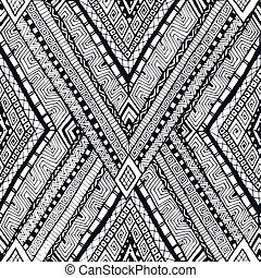 Tribal doddle rhombus seamless background. - Original...