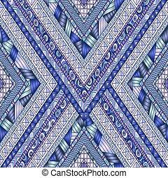 Tribal doddle rhombus seamless background. - Original...
