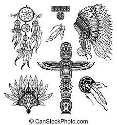 Tribal Doodle Set - Tribal doodle set with animal mask...