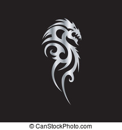 tribal, dragón, tatuaje, arte