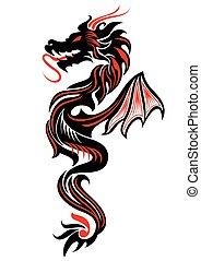 Tribal dragon tattoo - Black and red tribal dragon tattoo...