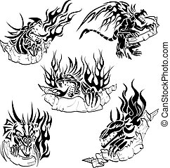 Tribal dragons with labels - Five tattoo with dragons, flame...