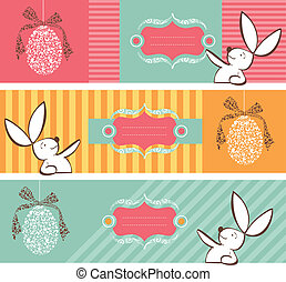 Tribal egg and Easter bunny banners set