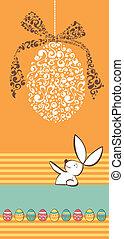 Tribal egg and Easter rabbit orange background
