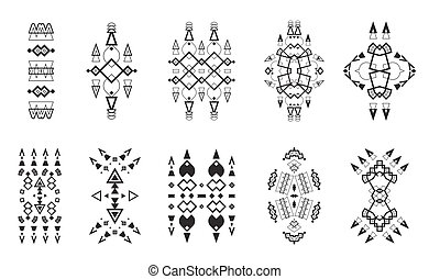Tribal Elements Set Ethnic Collection, Aztec Art Design