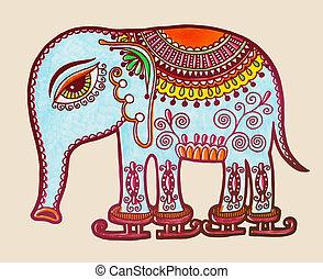 tribal elephant ice skating, ornamental marker drawing