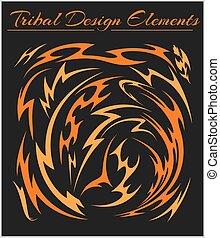 tribal, ensemble, arrière-plan noir, éléments