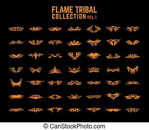 tribal, ensemble, flammes, collection
