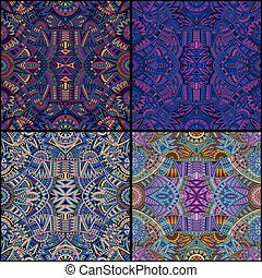 tribal ethnic seamless pattern set
