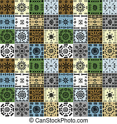 Tribal ethnic symbols background, seamless pattern