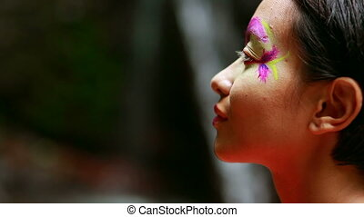 Tribal Face painting in jungle