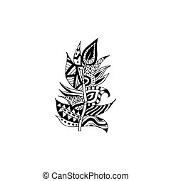 Tribal feather a vector illustration isolated on a white background