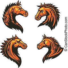 Tribal fire horse mascots with spiky brown mane