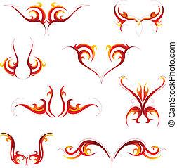 Tribal flame tattoo set