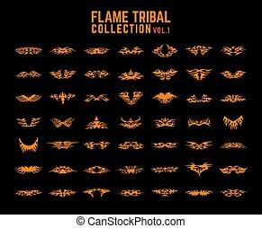 tribal, flammes, collection, ensemble