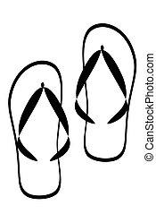 Black tribal flipfop shoe tattoo