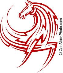 tribal, fuerte, caballo, rojo