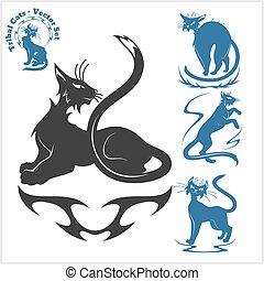 Plantillas Tatuaje Tribal Vector Diseño Gatos Set