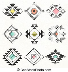 Tribal geometric elements collection.