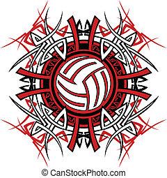 tribal, gráfico, imagen, voleibol