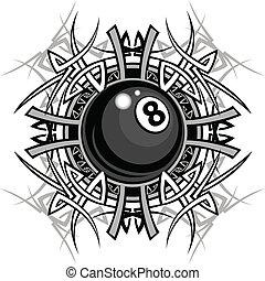 tribal, gráfico, ocho, billar, pelota
