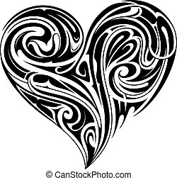 Tribal heart shape tattoo design