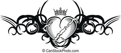 tribal heart tattoo tshirt1