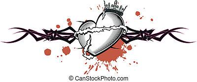 tribal heart tattoo tshirt2