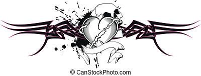 tribal heart tattoo tshirt3