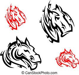 Tribal horses tattoos