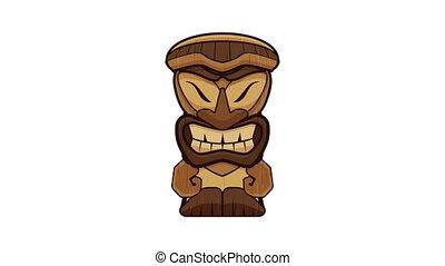 Tribal idol icon animation cartoon object on white background